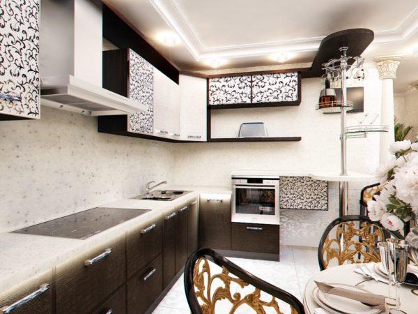 Если кухня узкая, лучше расположить фасады без фурнитуры.