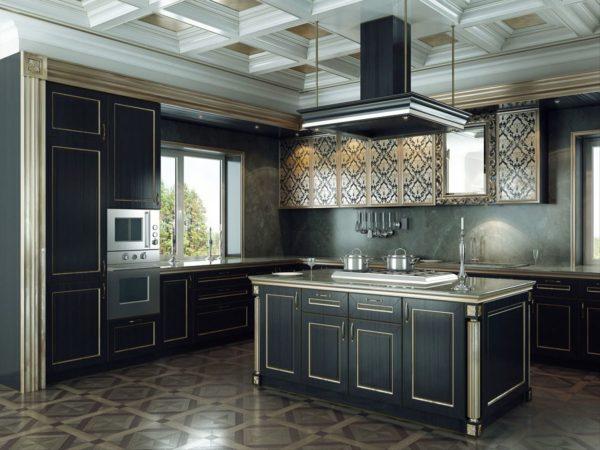 В мебельном кухонном гарнитуре допускается комбинация черного и белого.