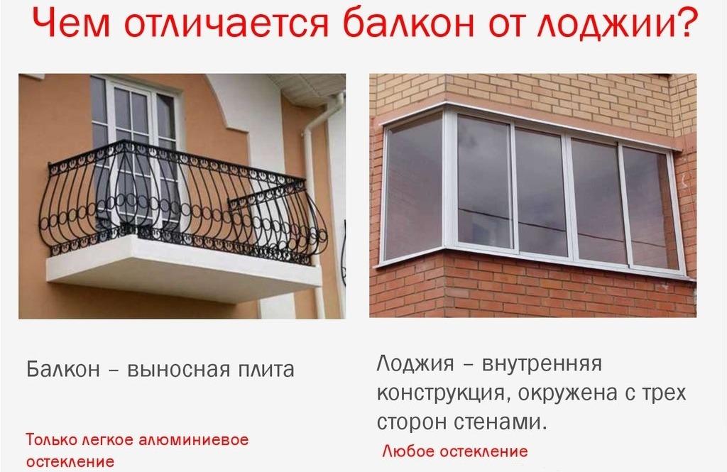 чем балкон отличается от лоджии