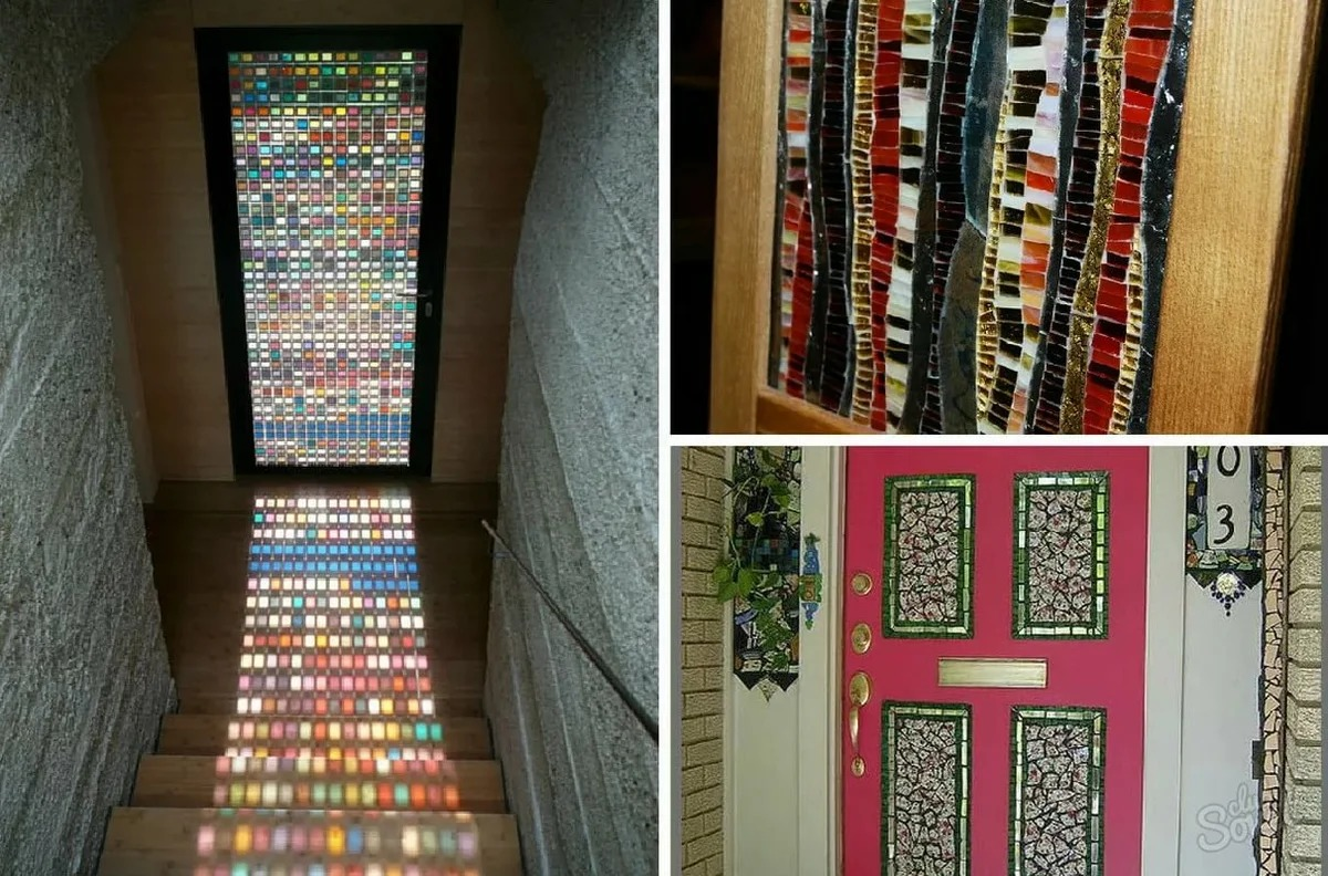 декор двери мозаикой
