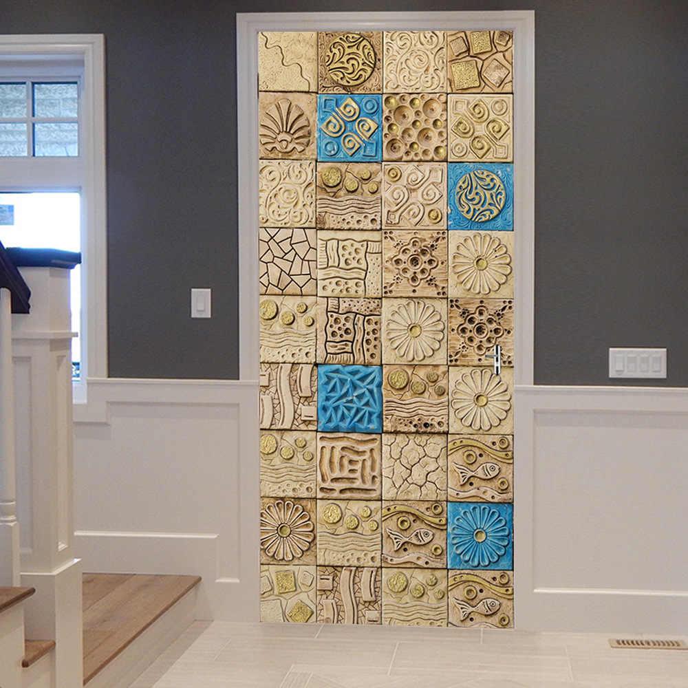 декор двери плиткой