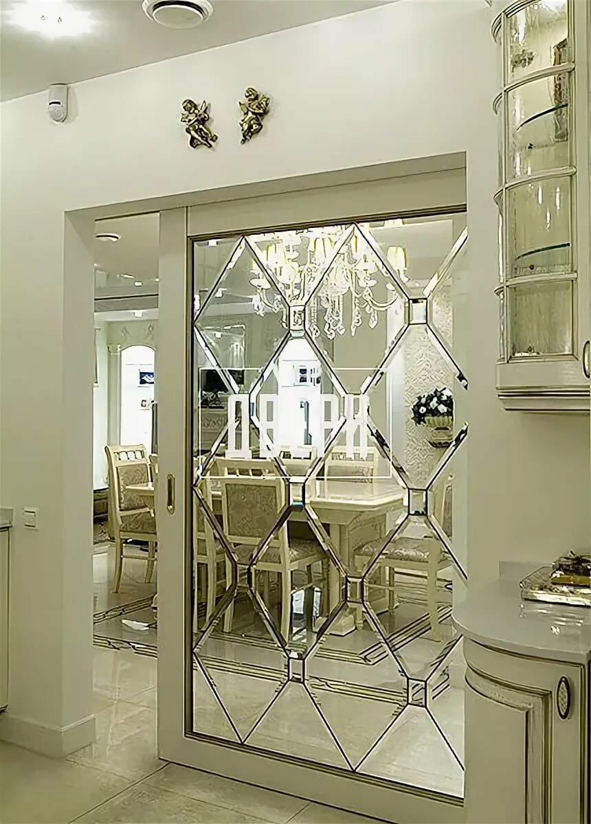 декор двери зеркалами
