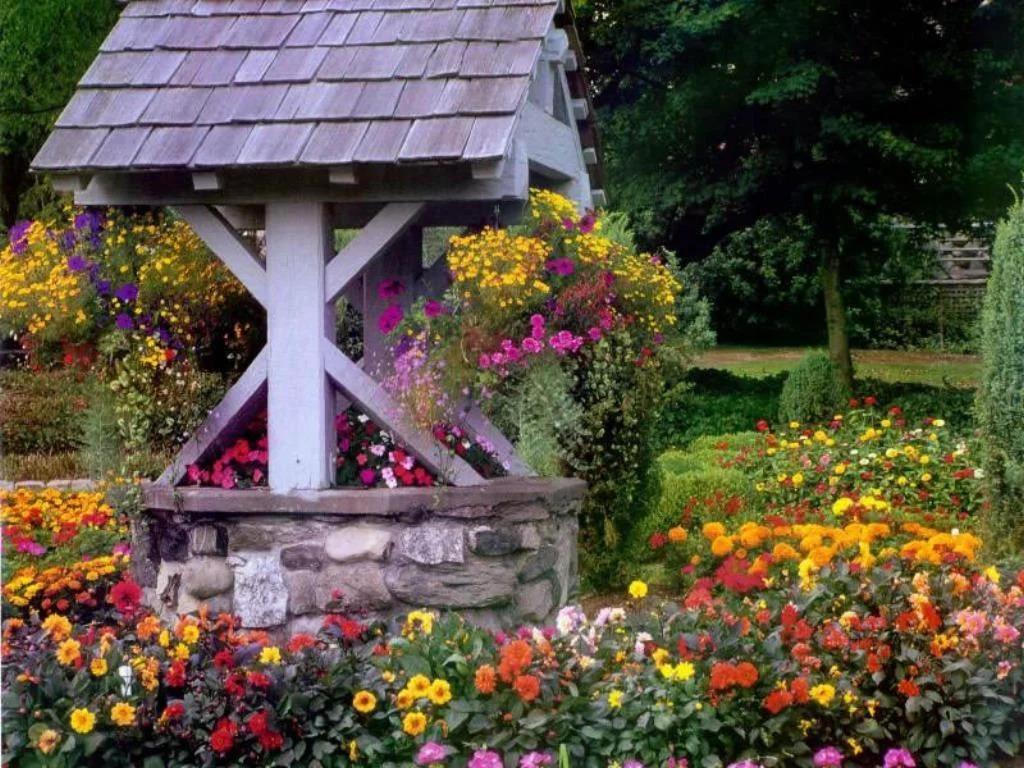 декор колодца цветами фото