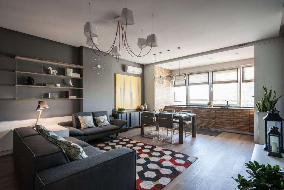 дизайн балкона с кухонным гарнитуром