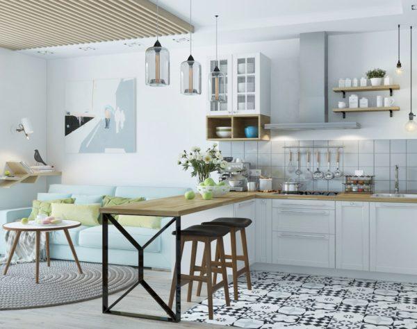 Кухонный гарнитур обладает простотой и лаконичностью.