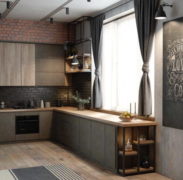 Для благоустройства маленькой кухни подойдет светлая мебель с отсутствием ручек и выступающих деталей.