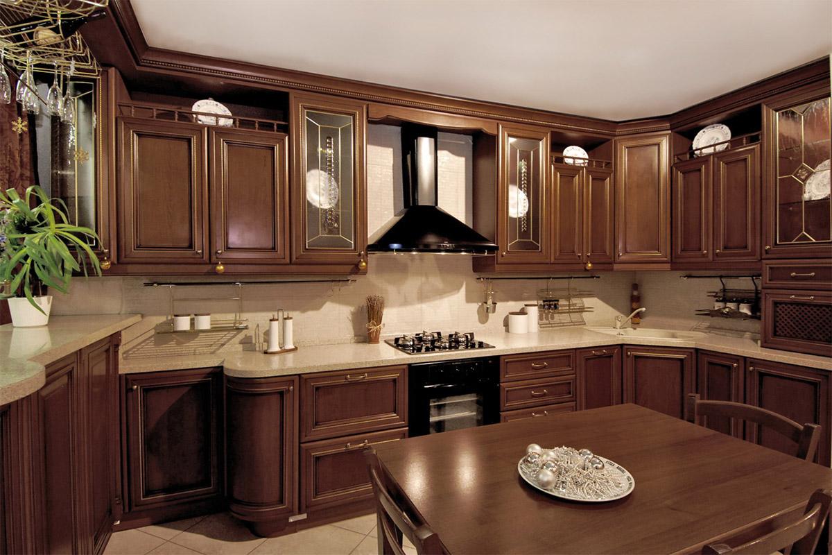 Кухни угловые массив классика фото тема