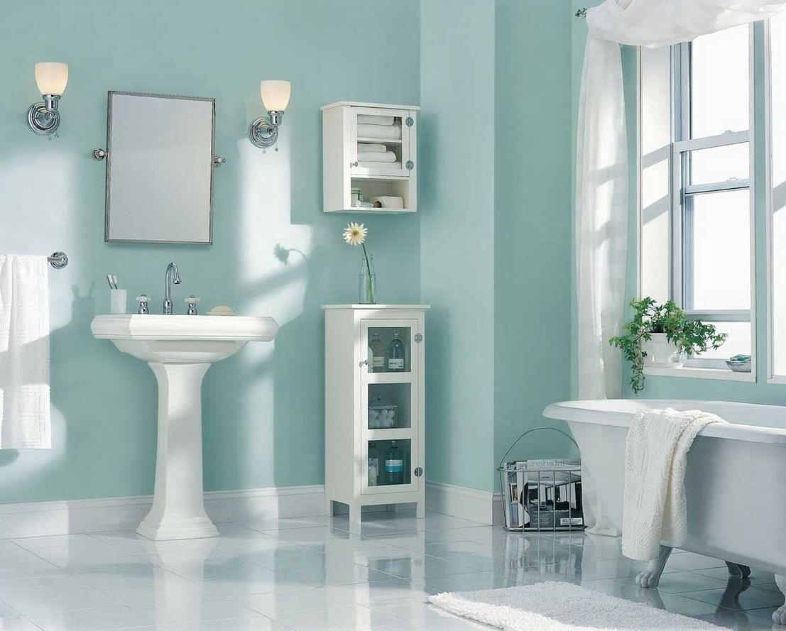 ванная с крашеными стенами