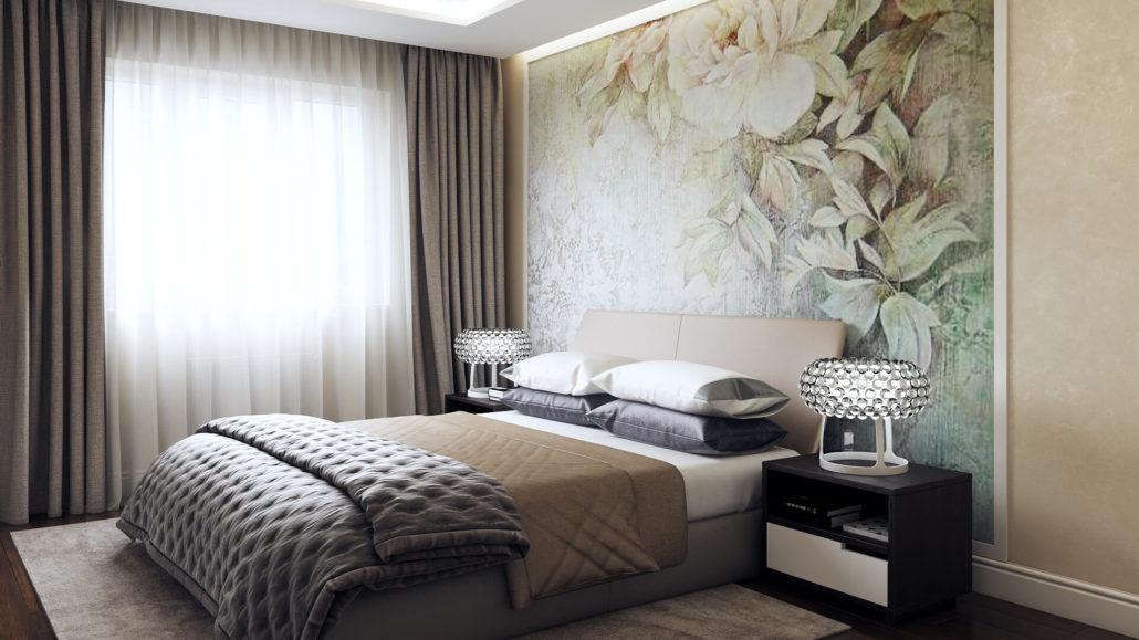 карниз для штор с натяжным потолком в спальне