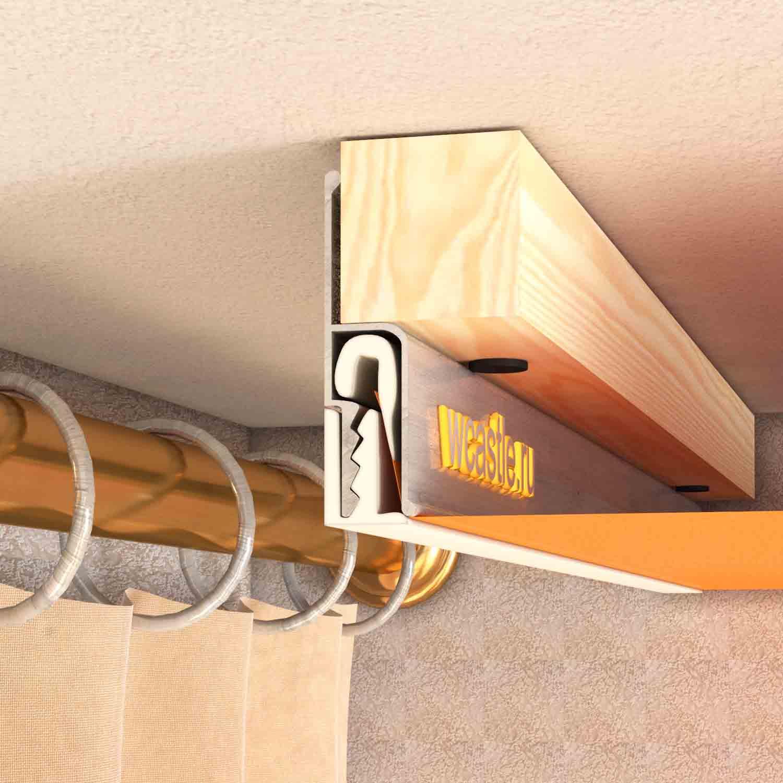 карниз для штор с натяжным потолком фото
