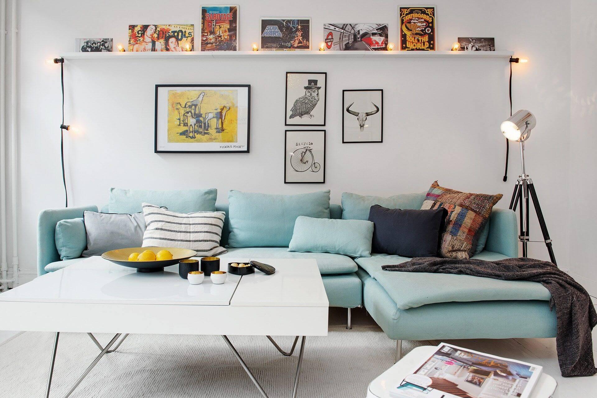 картины в гостиной в скандинавском стиле