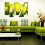 картины в интерьере гостиной под цвет