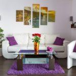гармоничные картины в интерьере гостиной