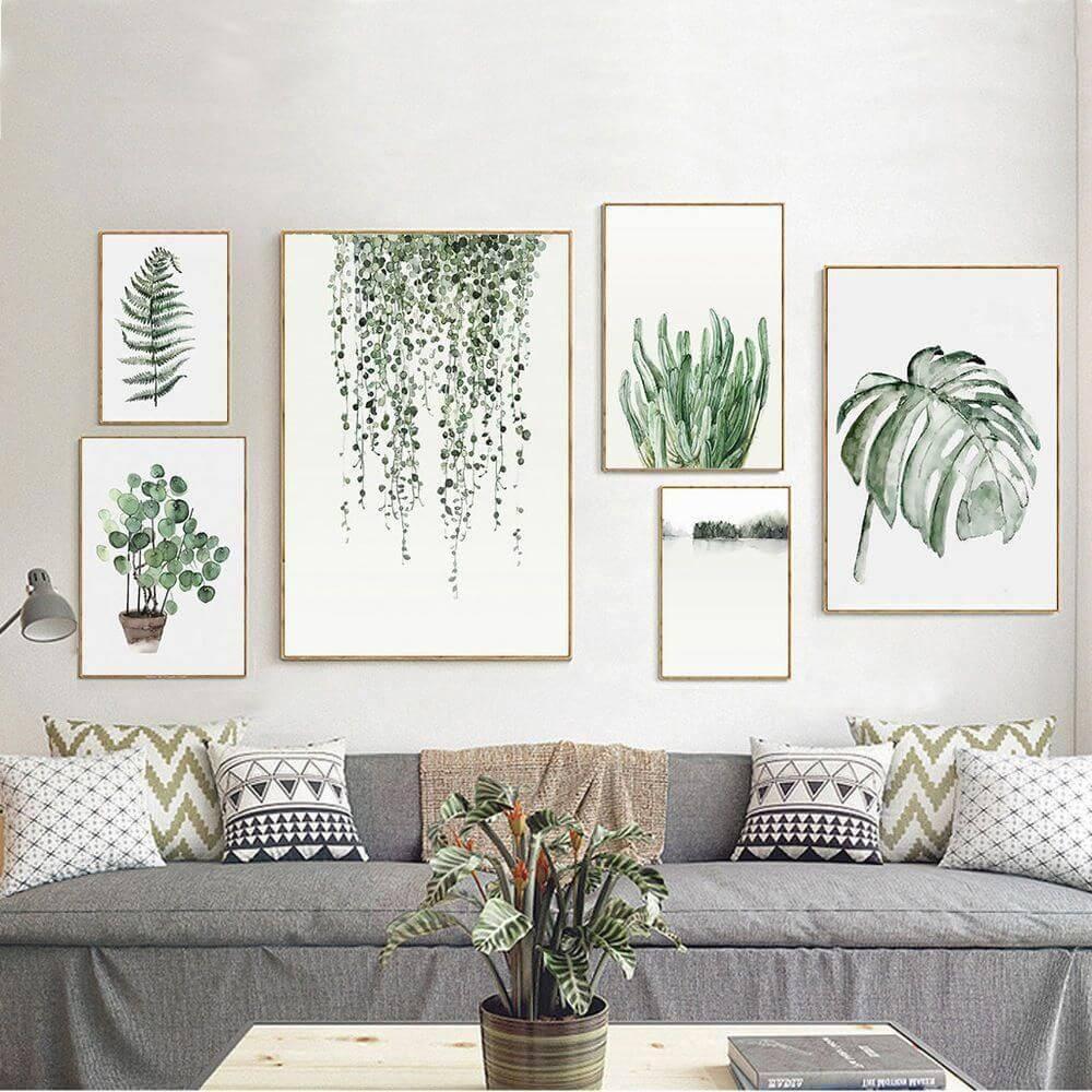картины в спальню с растениями
