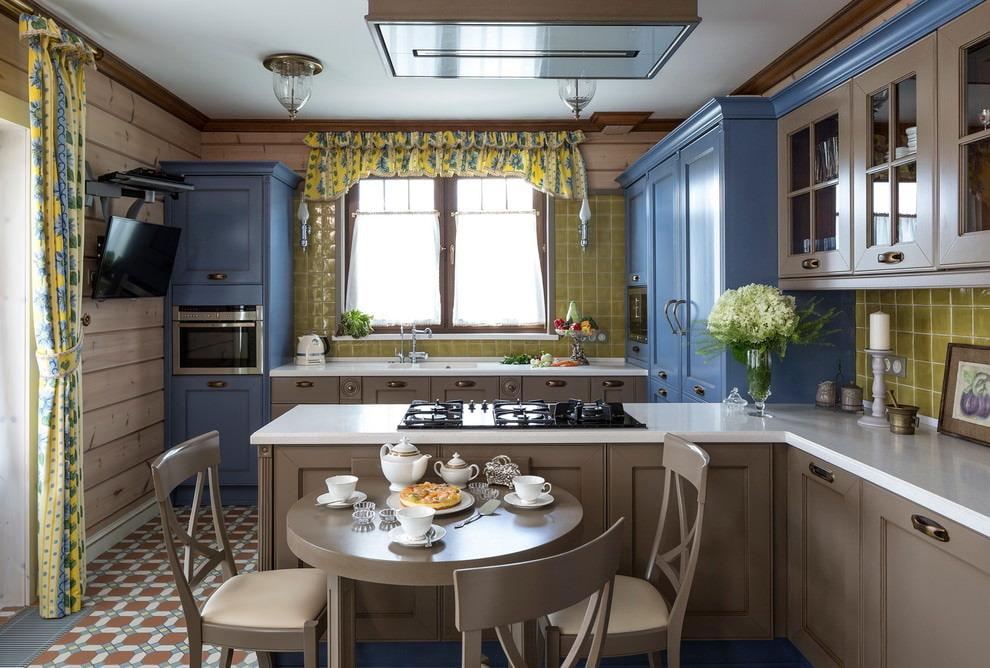 короткие шторы на кухне стиль прованс