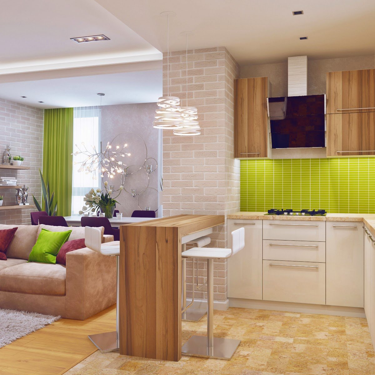 Идея гостиной и кухни фото
