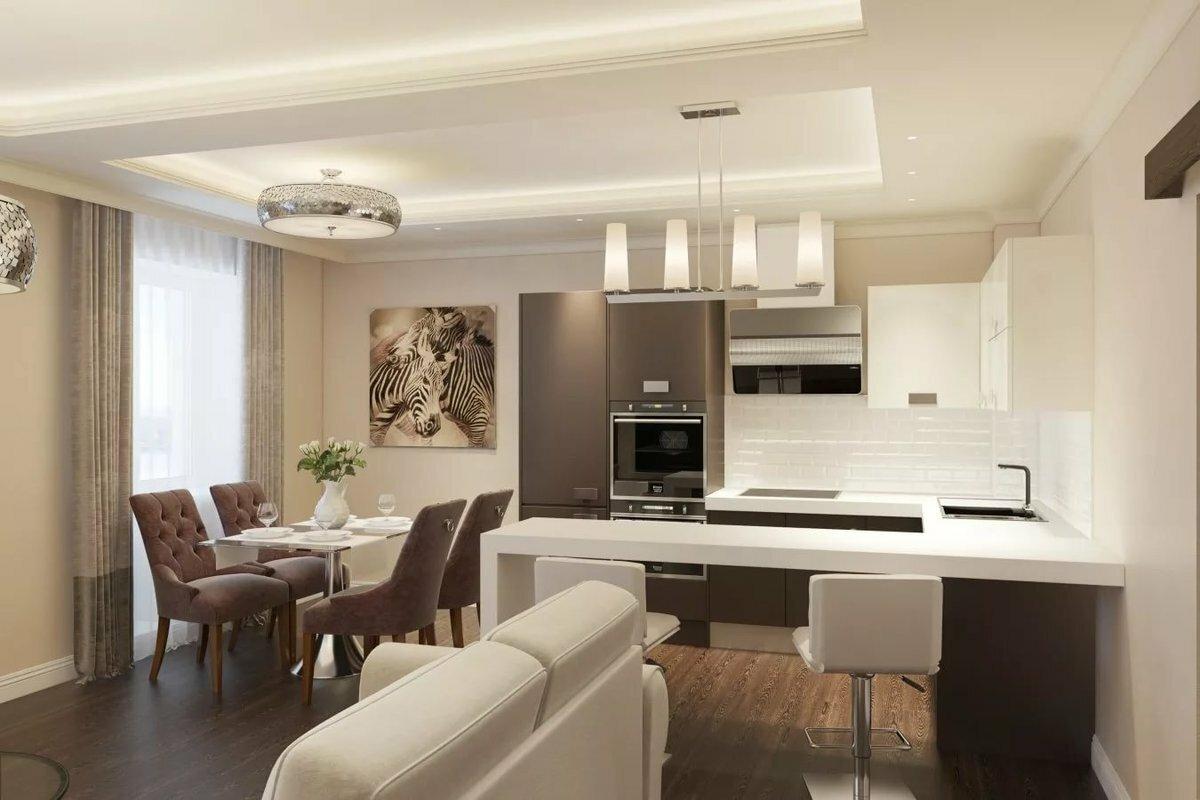 Дизайн кухни гостиной в светлых тонах фото сигареты, только
