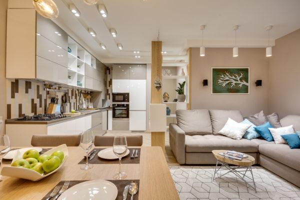 Кухня-гостиная дизайн 2020 оформляется с максимальной гармонией интерьера и отделочных материалов