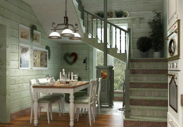 При выборе этого стиля нужно приобрести красивую винтажную мебель, лестницу можно оформить деревом с элементами резьбы.