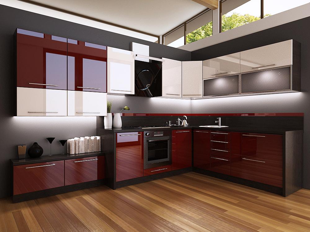 кухня венге с бордовым