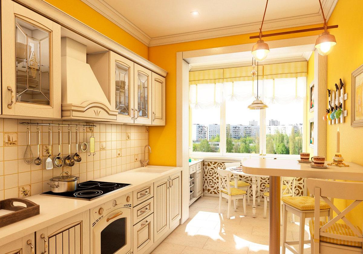 кухня с балконом прованс