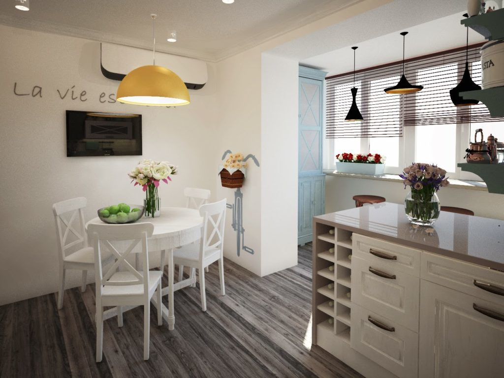 оформление кухни с балконом