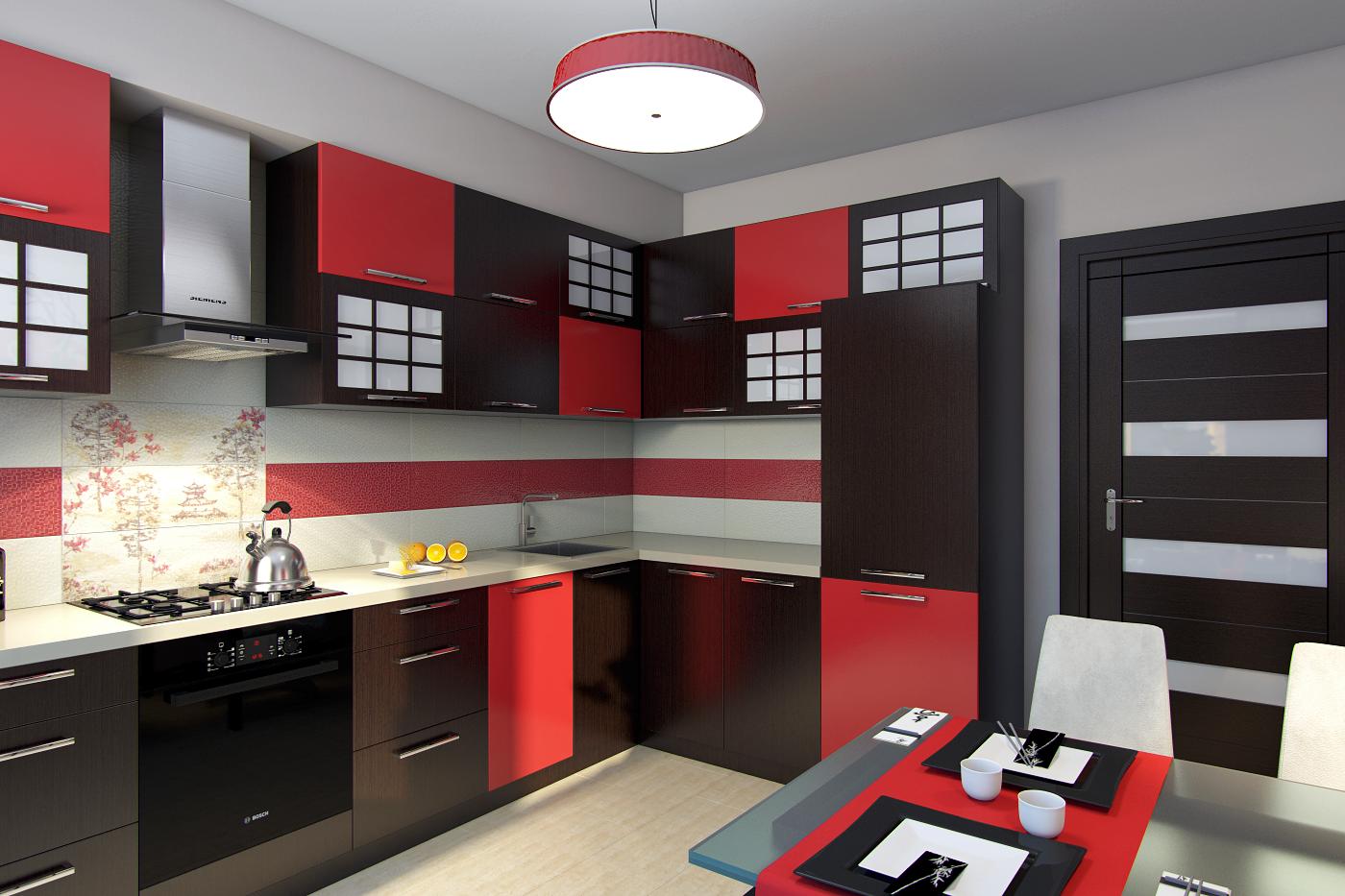 кухня венге с красным