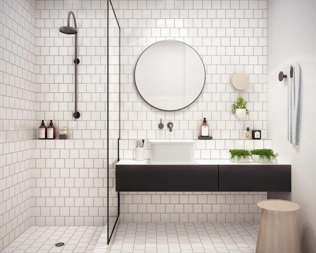 квадратная плитка в ванной