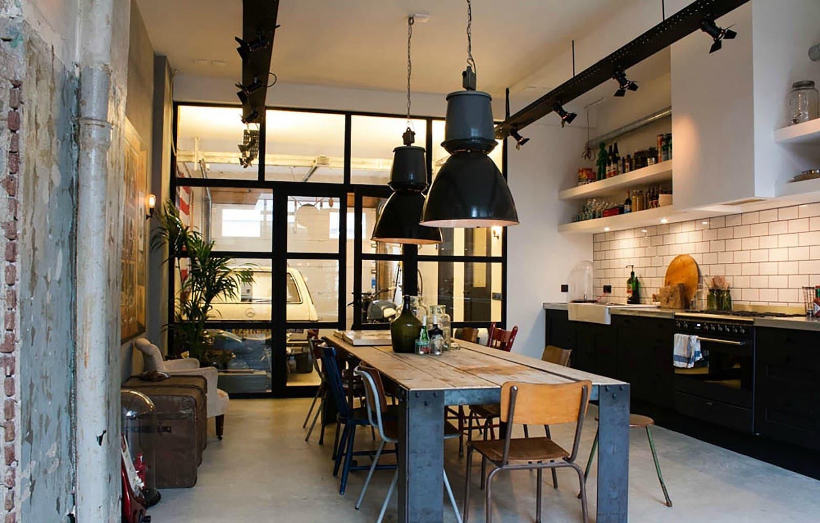 лампы в стиле лофт на кухне