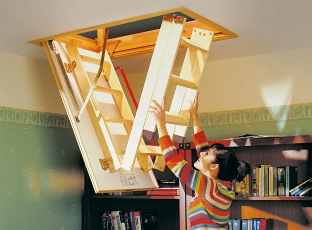 лестница на чердак из дерева