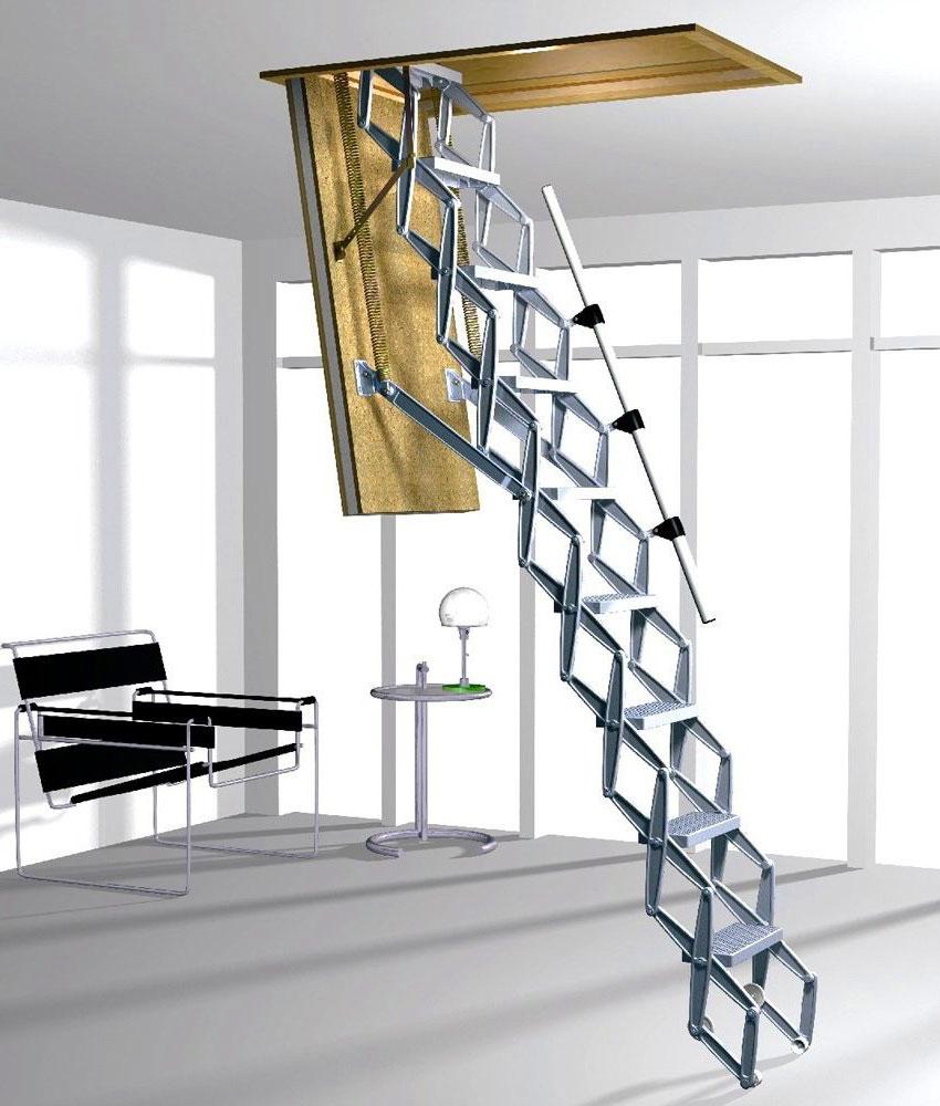 лестница на чердак ножничная