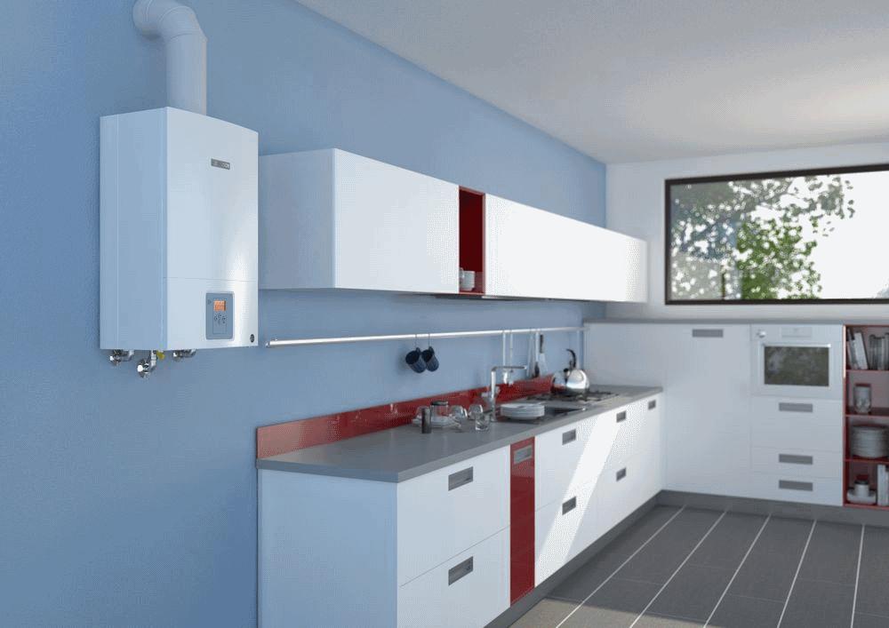 настенный газовый котел на кухне фото