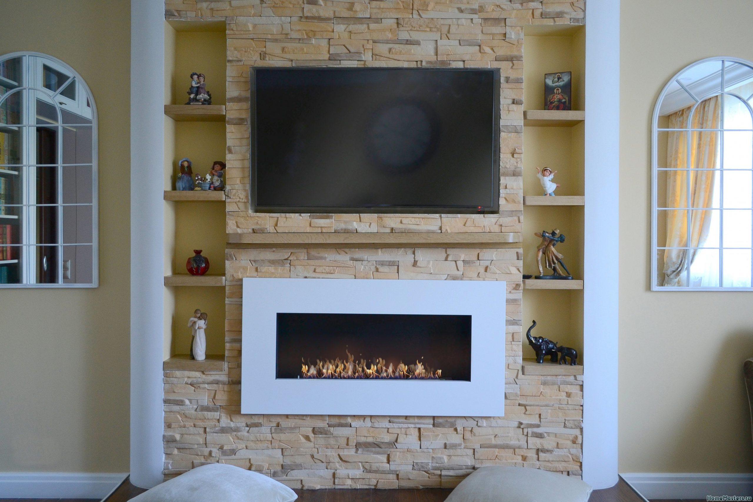ниша под телевизор с декоративным камнем