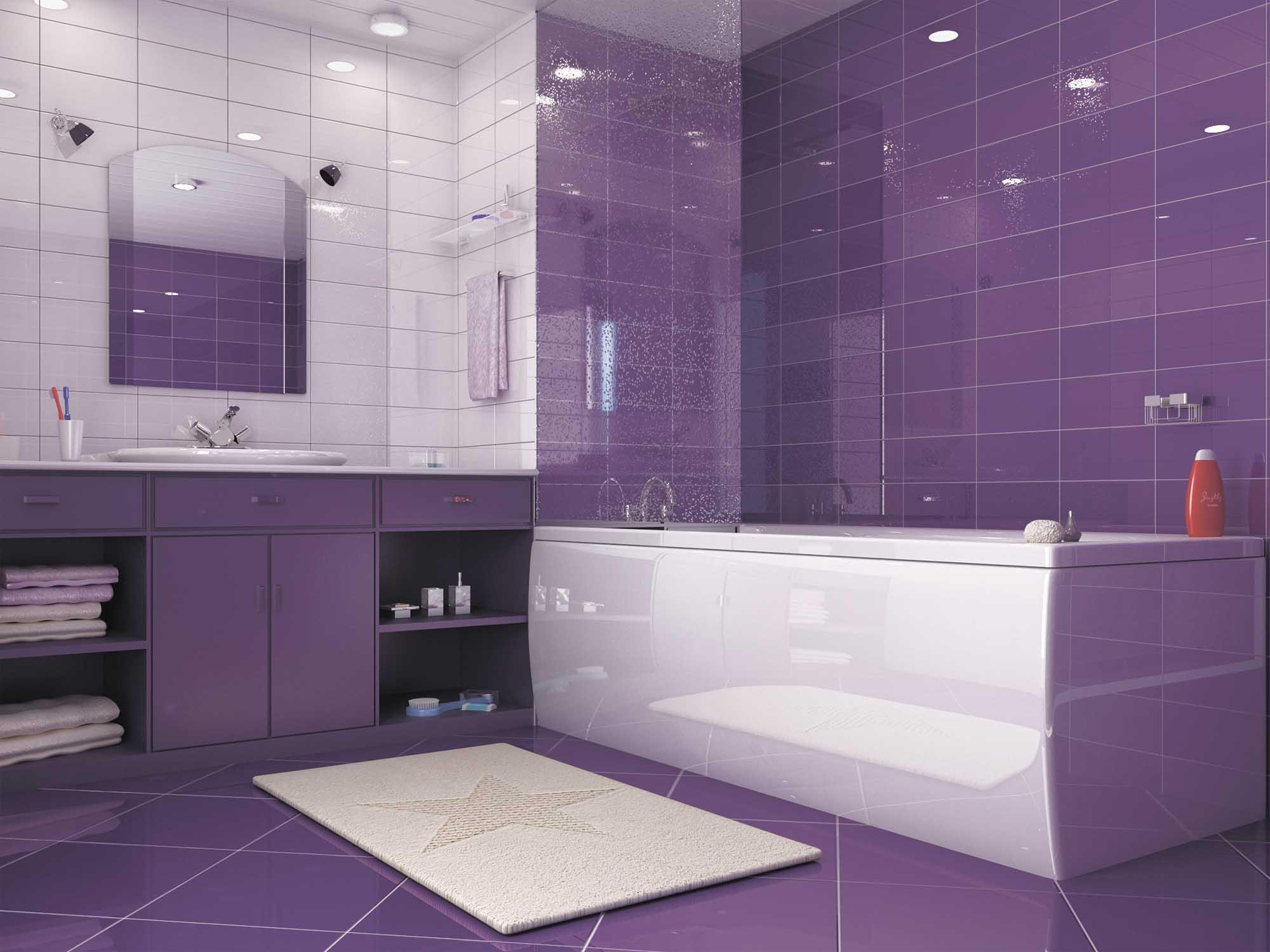 однотонная плитка в ванной