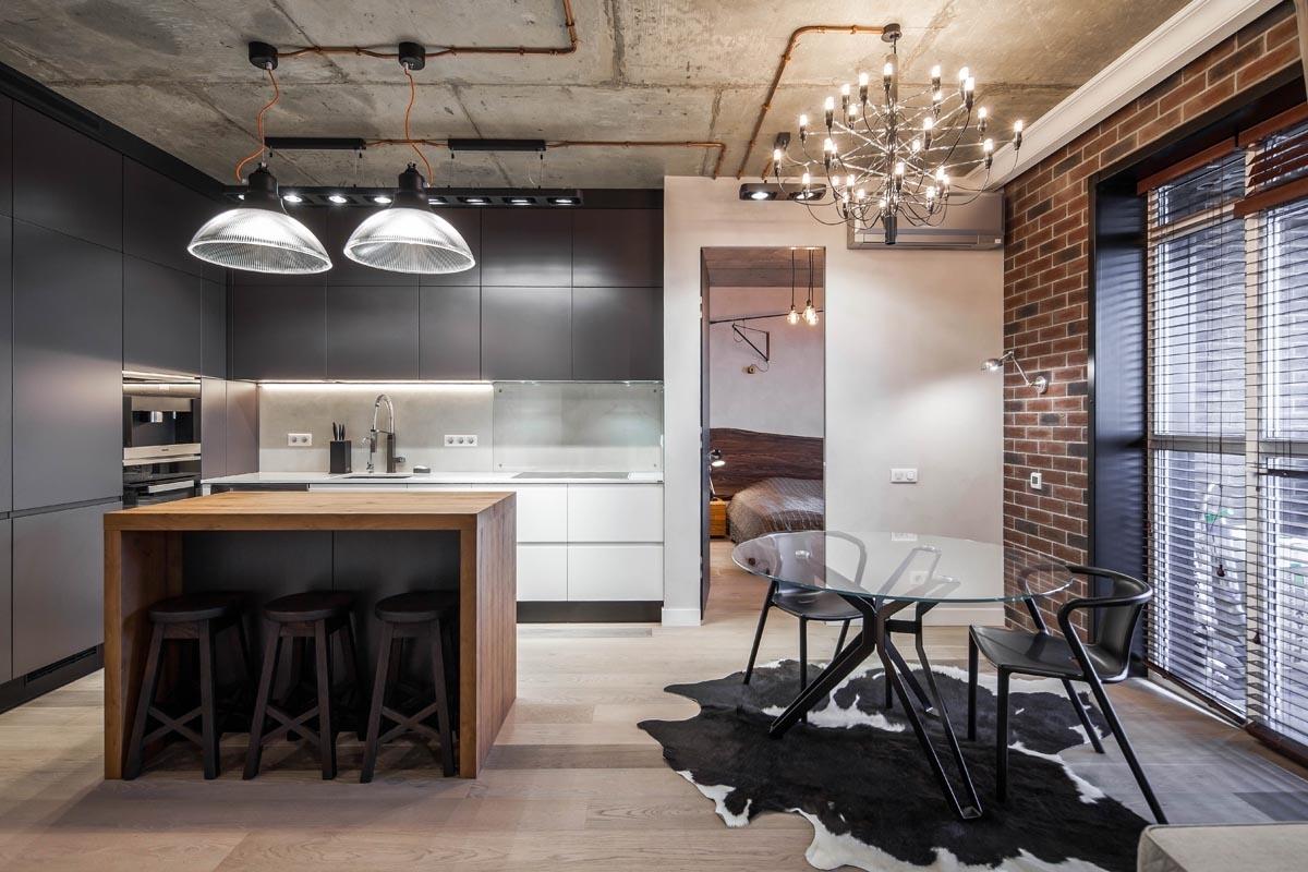 освещение на кухне лофт