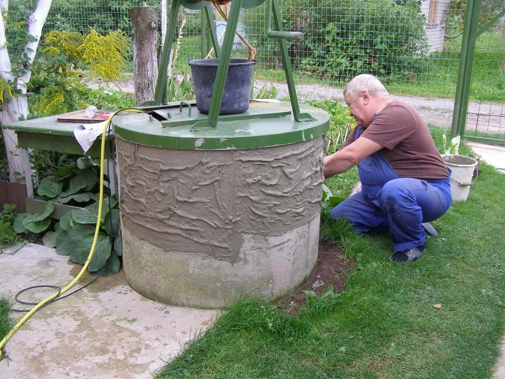 отделка колодца из бетонных колец