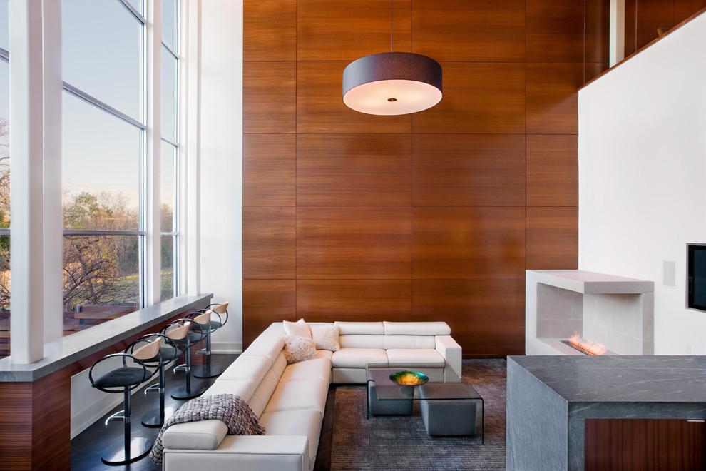 отделка стен деревом в гостиной