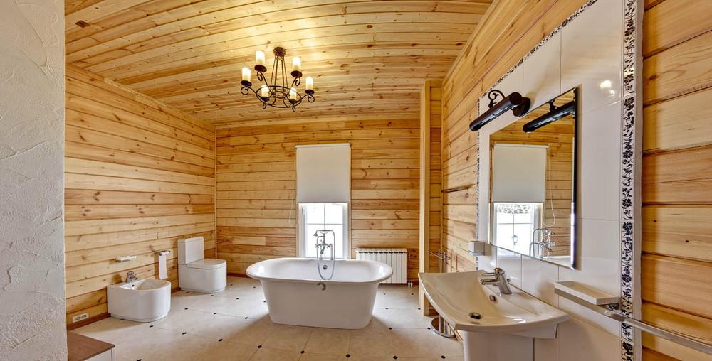 отделка стен деревом в ванной