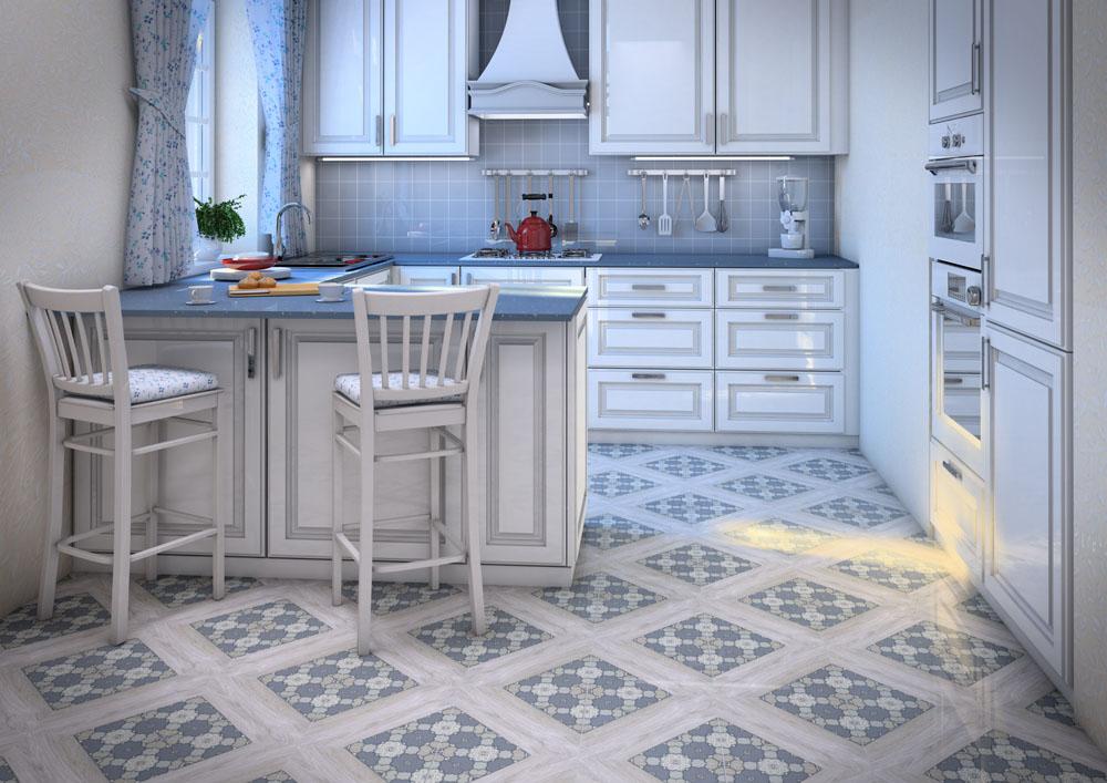 современная плитка для кухни на пол