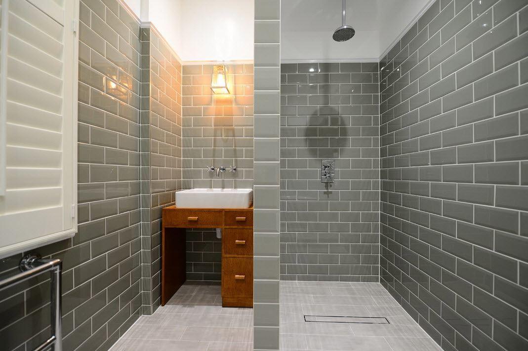 плитка в ванной кирпичная кладка
