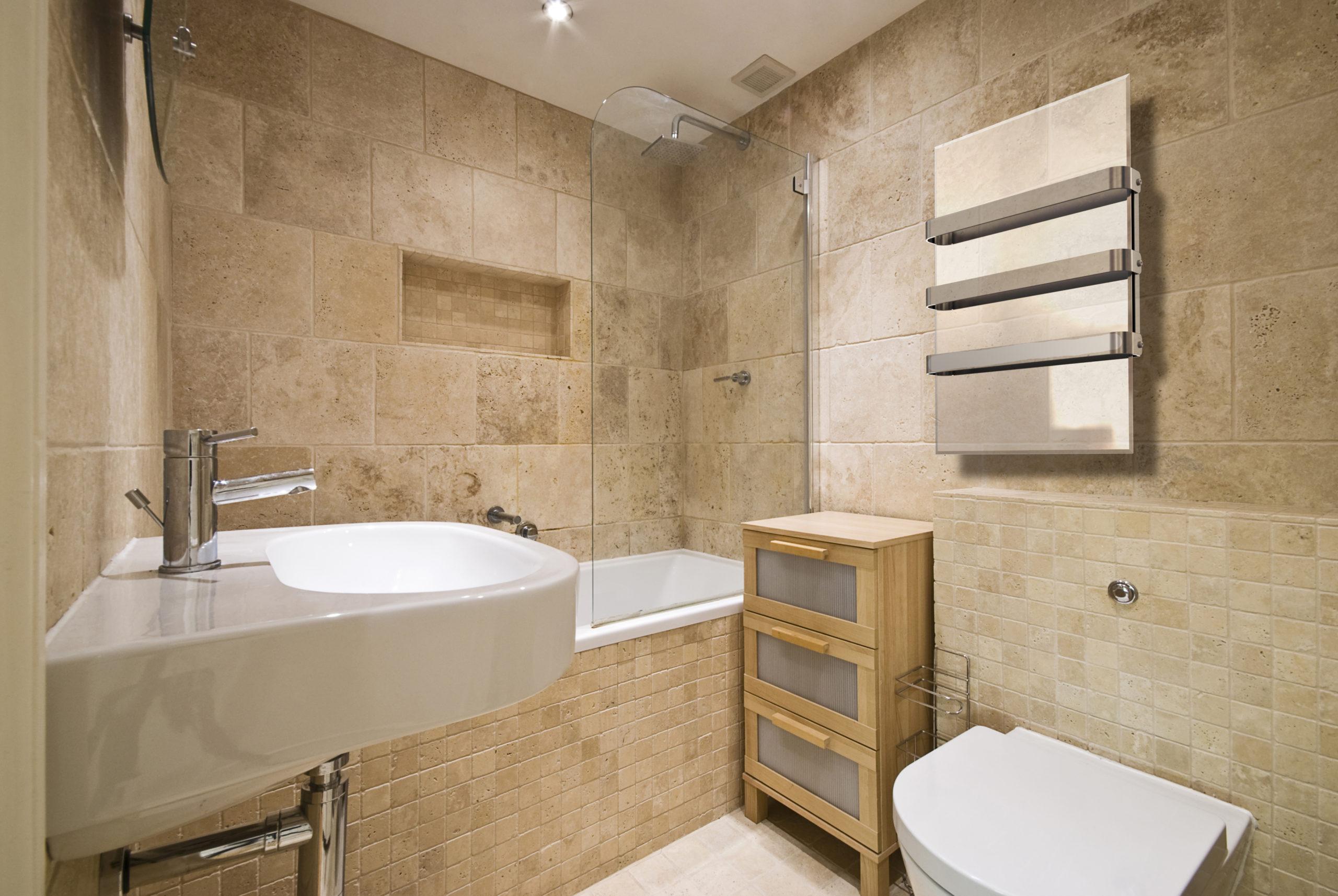 плитка в ванной под камень