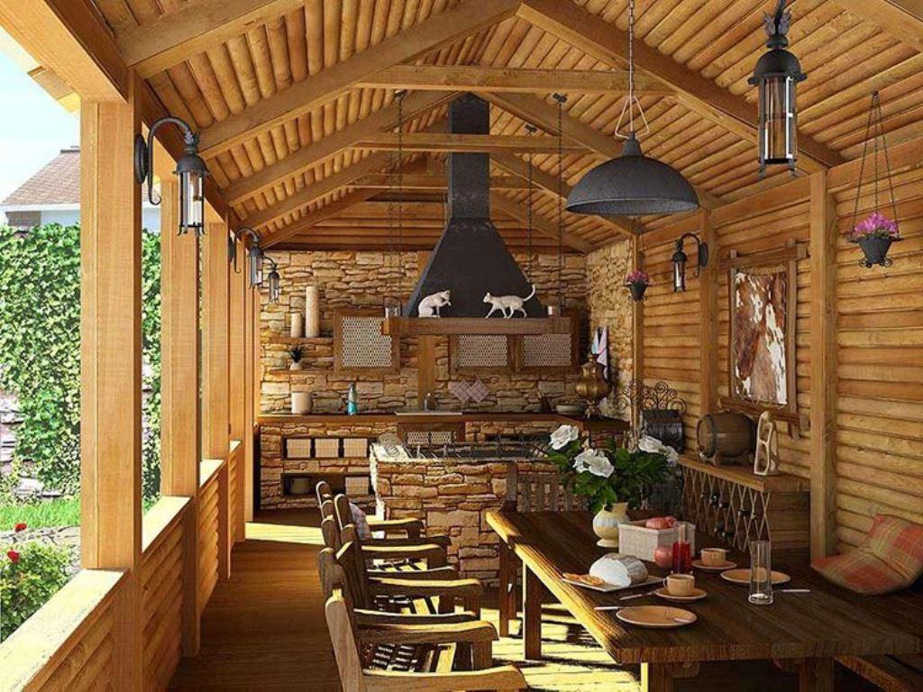 полуоткрытая летняя кухня