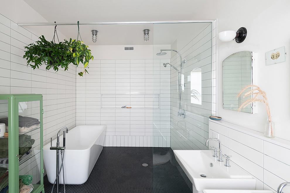 прямоугольная плитка в ванной