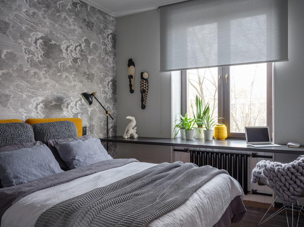 рулонные шторы до подоконника в спальне фото