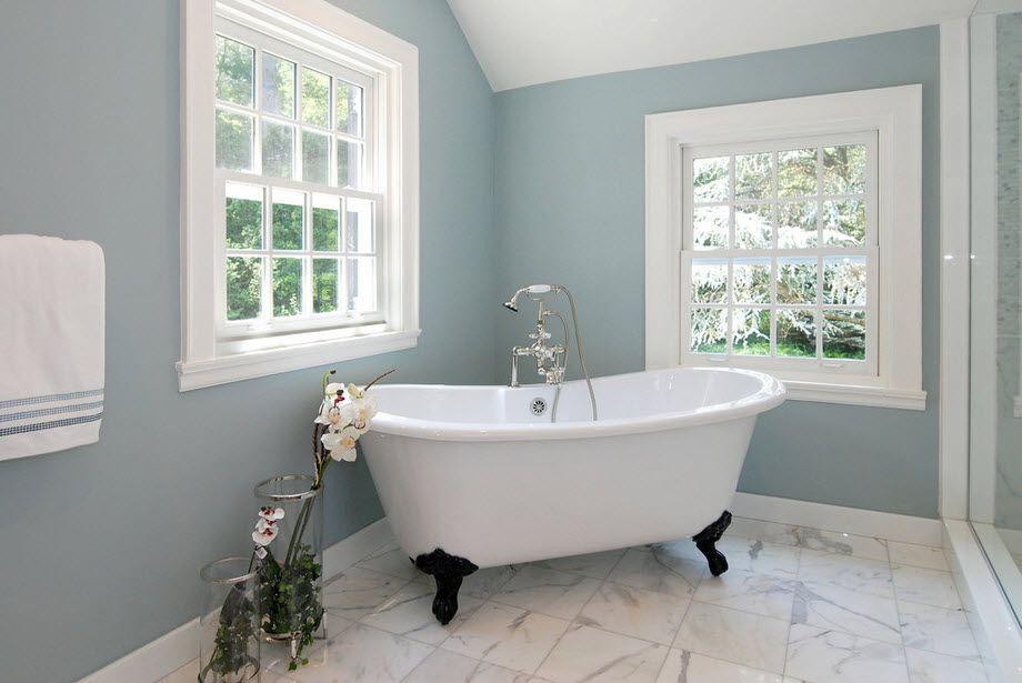 серые стены в ванной