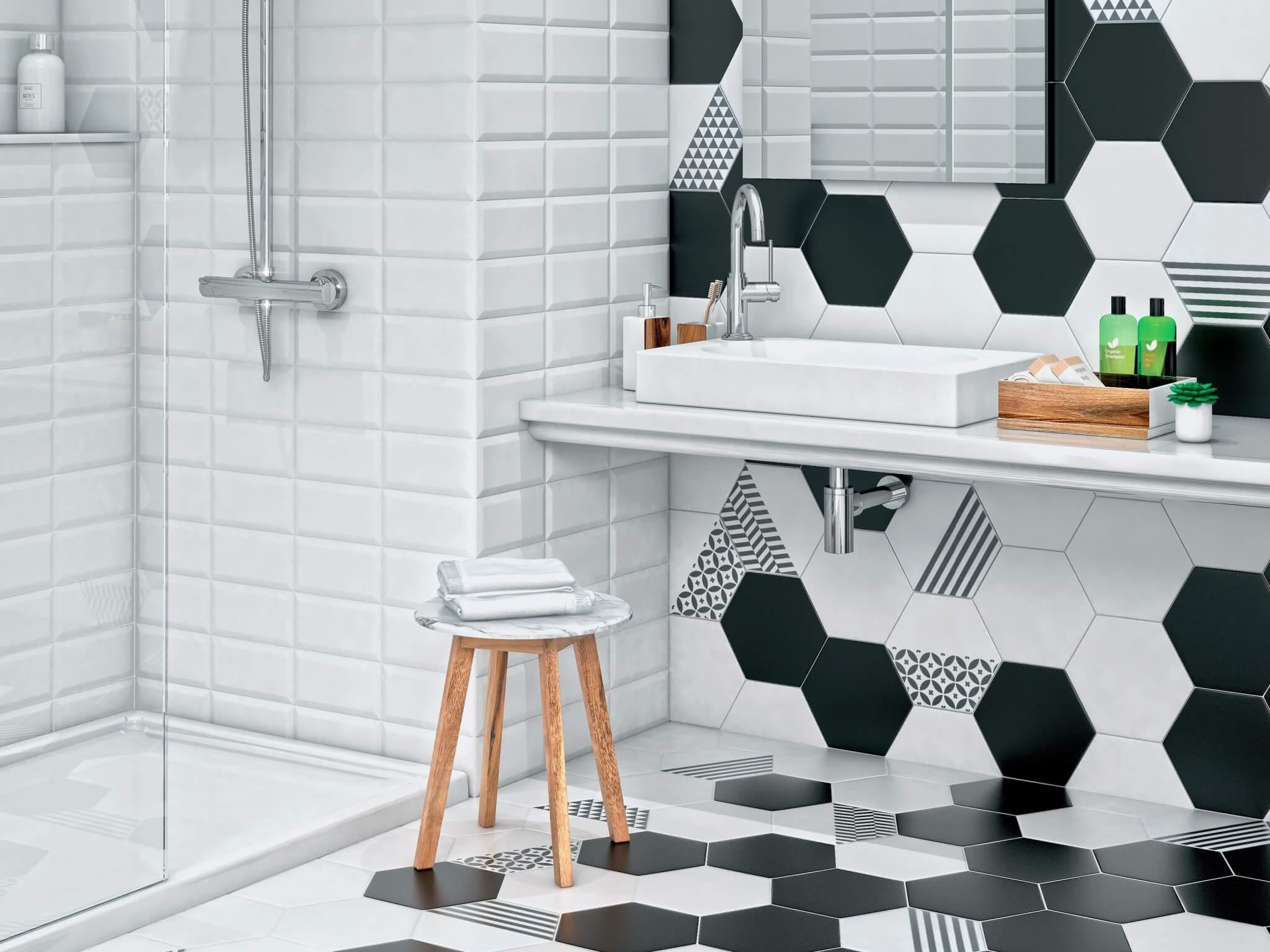 шестиугольная плитка в ванной