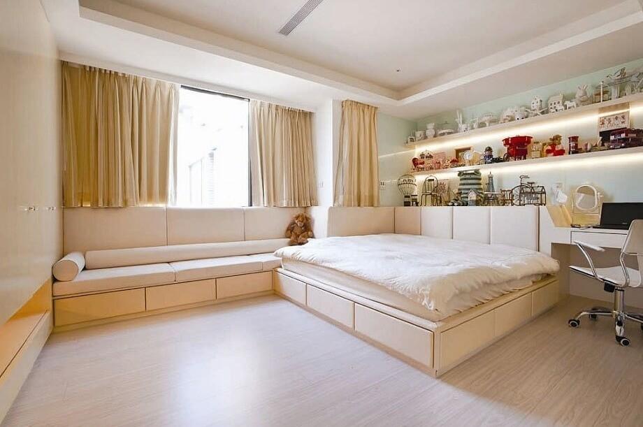 шторы до подоконника в спальне идеи интерьера