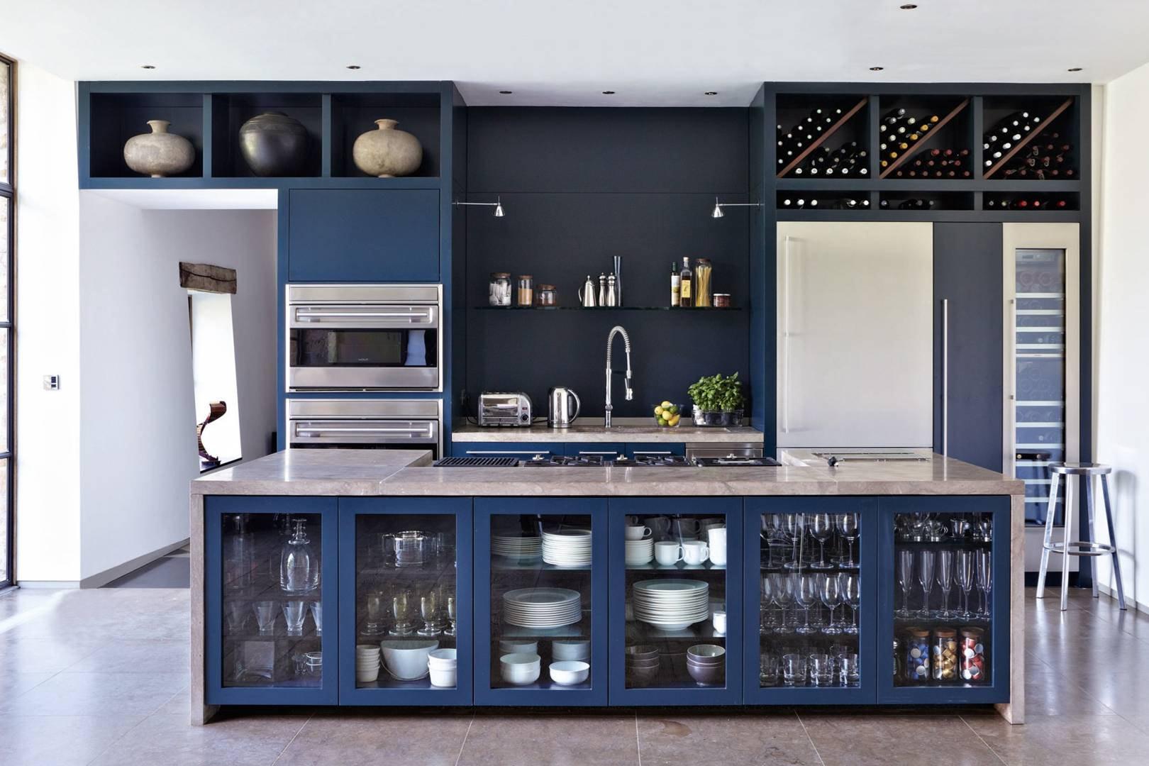сине серая кухня