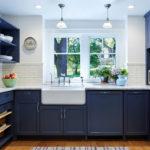 синий кухонный гарнитур фото интерьер