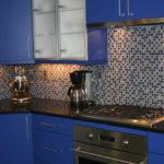 синий кухонный гарнитур фото оформление
